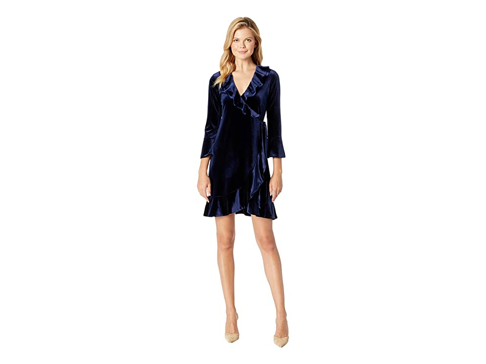 Hale Bob Eternal Glow Stretch Velvet Bibiana Dress (Navy) Women