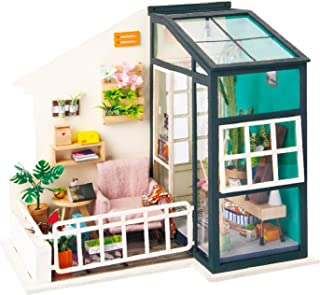 ROBOTIME DIY House Decor with Accessories and Furniture Miniature Doll House Wooden Craft Kits (Balcony Daydreaming)