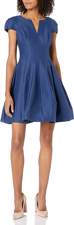 HALSTON Women's Short Sleeve Notch Neck Dress with Tulip Skirt