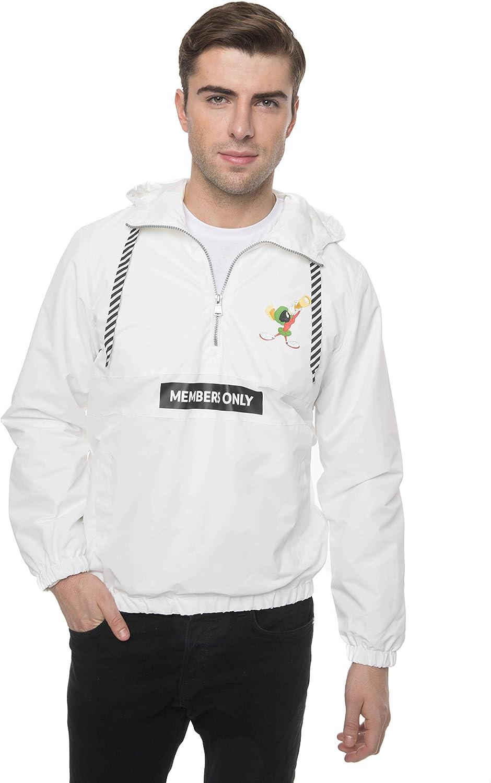 Members Only Men's Looney Tunes Collab Popover Windbreaker Lightweight Hooded Jackets