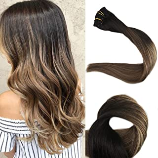 Full Shine 20 inch Balayage Clip Hair Extensions Human Hair Real Remy Hair Extensions 100gram 10 Pcs Set Ombre Dip Dyed Color #1B Fading to #6 and #27 Honey Blonde