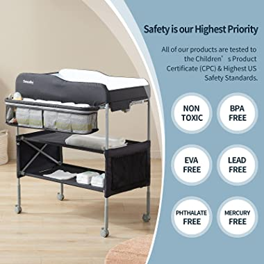 Sweeby Portable Baby Changing Table, Foldable Changing Table Dresser Changing Station for Infant, Waterproof Diaper Changing