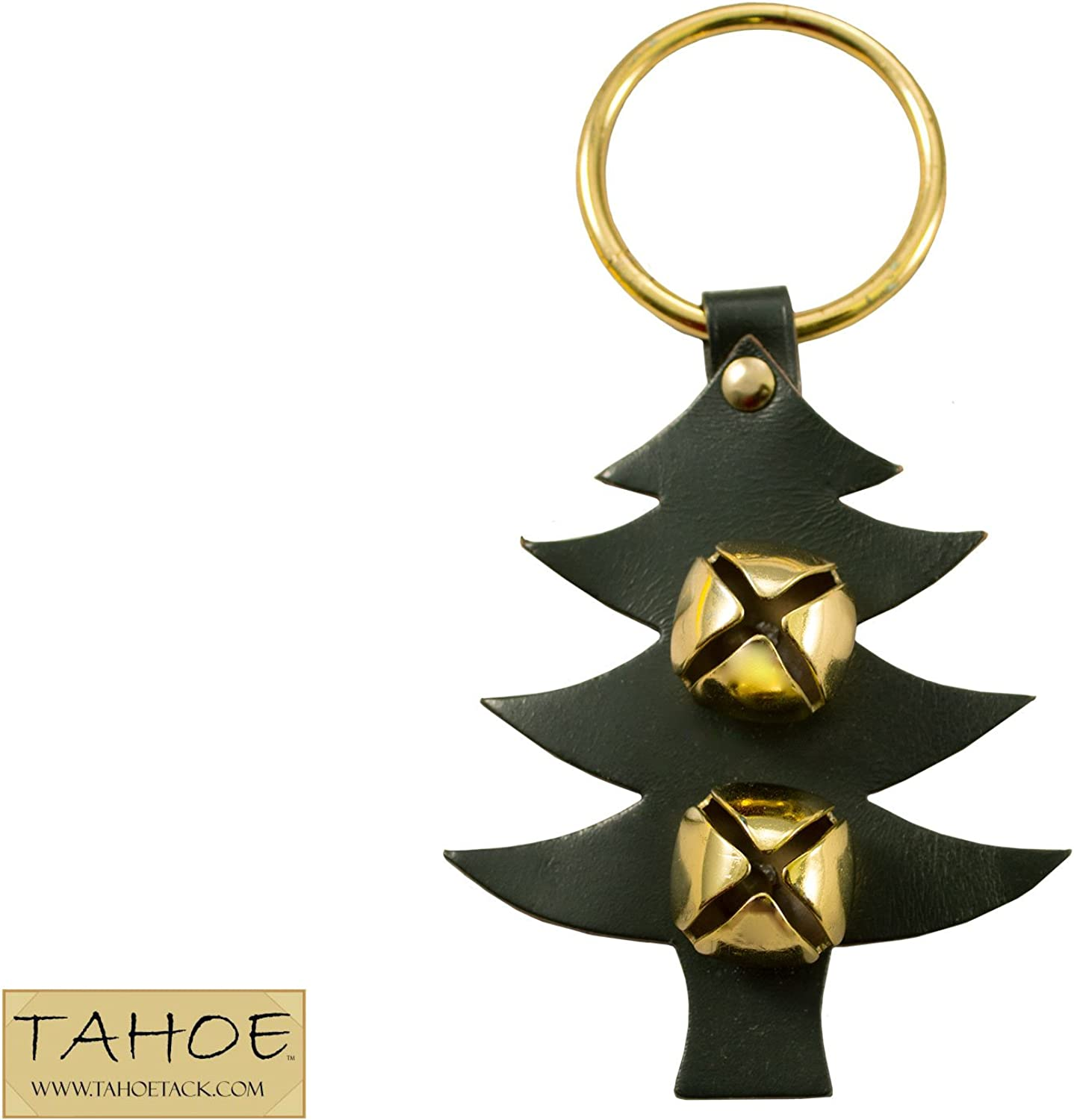 Tahoe Tack Fancy Holiday Themed Brass Shaped Sleigh Bell Leather Door Hangers