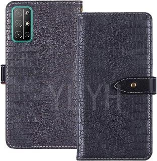 YLYT 豪華な カバー 合皮 Huawei Honor 30S 6.5 inch 耐汚れ ポーチ 保護する Cover Case シリコーン TPU Silicone スタンド レザー カード収納 財布 ケース 手帳型 グレー