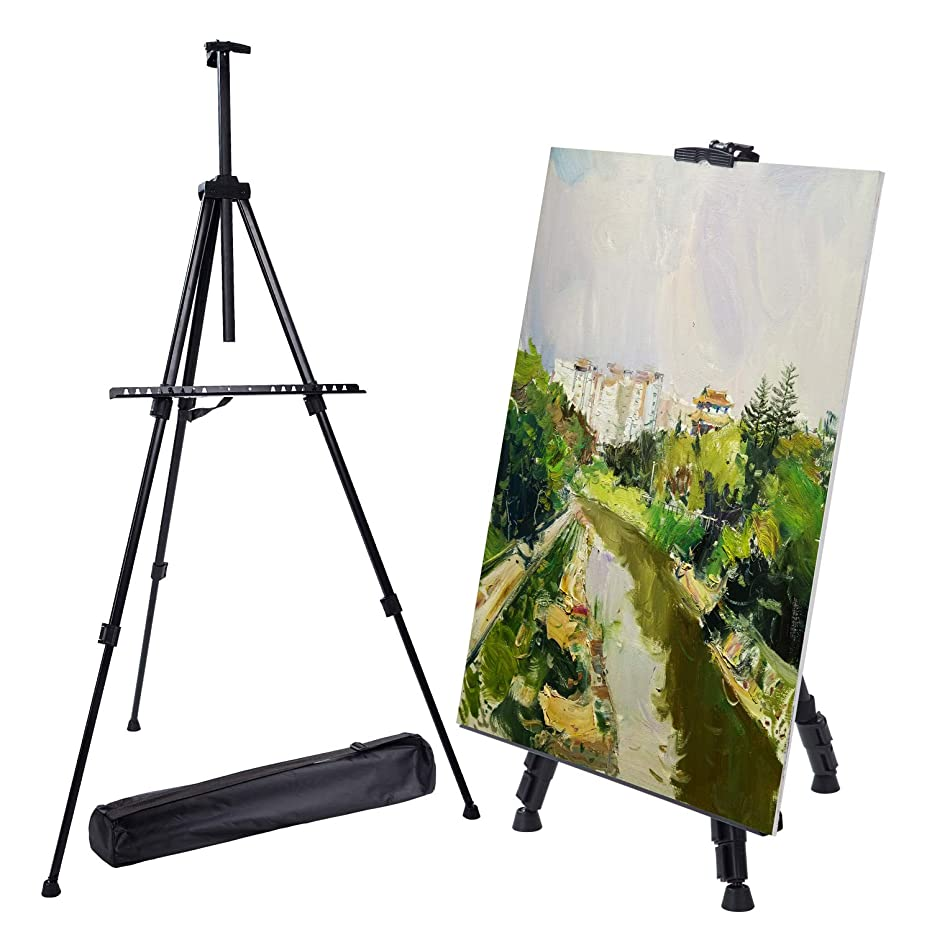"Easel Stand, Metal Adjustable Display Tripod Floor Easel Extend from 20.5"" to 67"" with Portable Bag for Painting Poster Whiteboard in Wedding School Office Black"