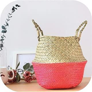 TOKYO HOT Storage Laundry Basket Rattan Straw Wicker Seagrass Folding Flower Pot Flower Vase Home Basket Planter Organization,Pink,Xs (19Cmx19Cm)