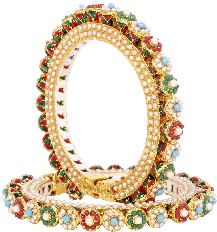 SANARA Indian Bollywood Gold Plated Navratan Multi Stone Bangle Bracelet Set Women Wedding & Party Wear