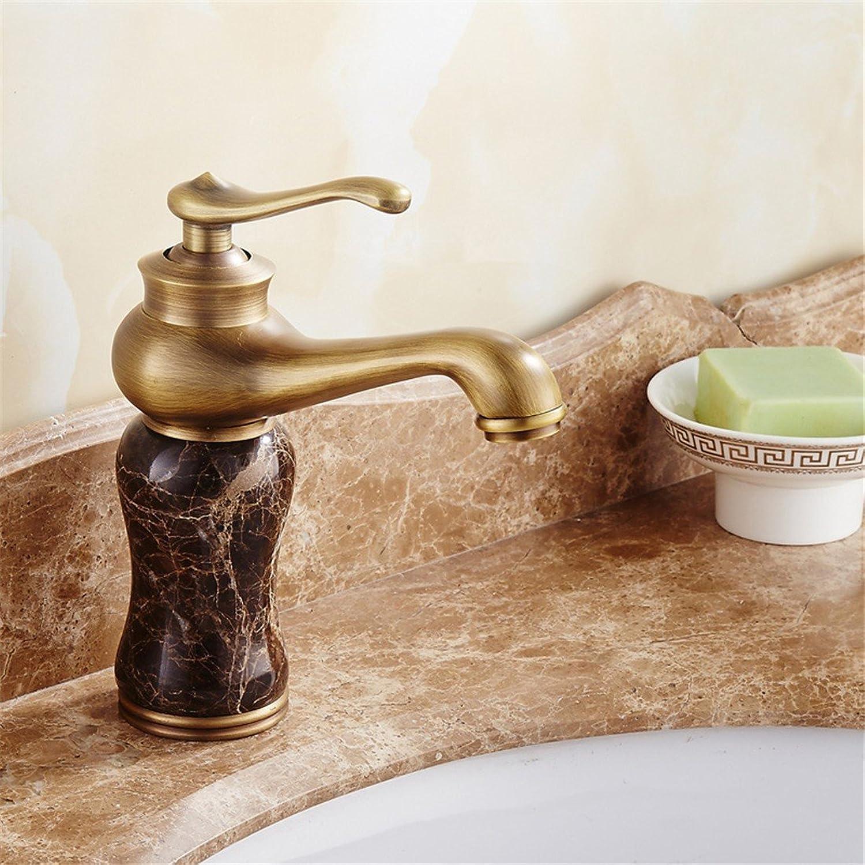 Fbict Antique Faucet European Basin hot and Cold bluee Jade Marble Basin Faucet Copper washbasin Faucet, Coffee Jade for Kitchen Bathroom Faucet Bid Tap