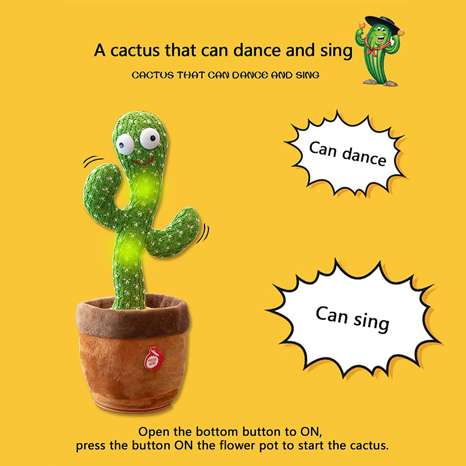 Buy WISMAT Dancing Cactus Toy - 120 Songs Singing, Talking, Record &  Repeating What You say Electric Cactus, Wiggle Mimicking Parrot Sunny Cactus  Plush Toy, LED Light for Home Decor & Babies