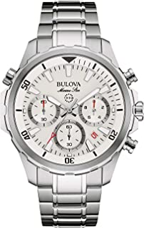 Bulova Men's Quartz Watch with Stainless-Steel Strap, Silver, 22 (Model: 96B255