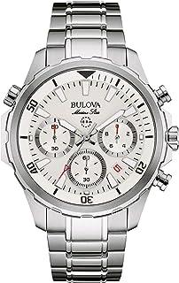 Bulova Men's Quartz Watch with Stainless-Steel Strap, Silver, 22 (Model: 96B255)