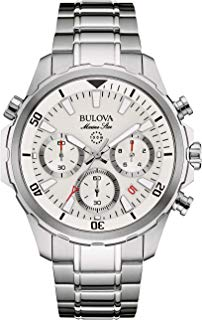 Bulova Men's Quartz Watch with Stainless-Steel Strap, Silver, 22 (Model: 96B255)