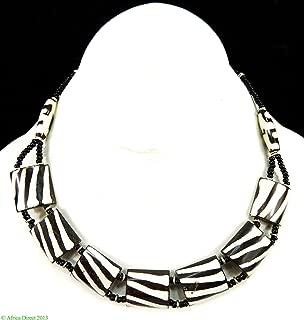 Batik Necklace Mudcloth Bone Trade Beads Stripes Kenyan African