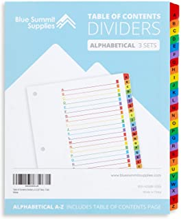Blue Summit Supplies Alphabet Binder Tab Dividers for 3 Ring Binder or Notebook, A to Z Dividers with Multicolor Alphabetical Tabs, Includes Customizable Table of Contents Index, 3 Sets