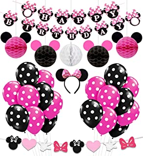 Minnie Mouse Birthday Party Supplies Decorations for Girls 1st 2nd 3rd Birthday Baby Shower