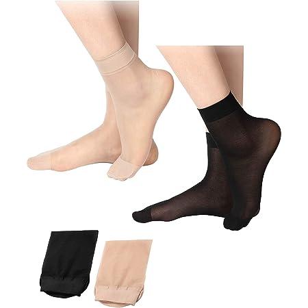 SATINIOR 20 Pares de Calcetines de Tobillo Transparentes Calcetines Altos de Tobillo Una Talla Nudo y Negro