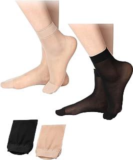 20 Pares de Calcetines de Tobillo Transparentes Calcetines Altos de Tobillo Una Talla Nudo y Negro