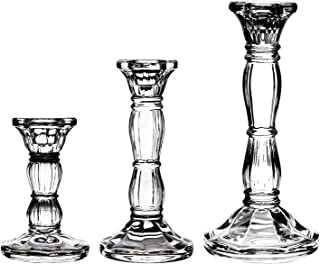 3Pack Glass Candle Stick Holders - Clear Crystal Taper Candles Holder– for Buring Candles, Led Taper Candle,Party and Wedding Centerpieces, Table Decoration(4,6,8inches Tall)