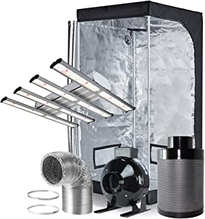 32X32X63 Grow Tent 32X32X63 Grow Tent Kit Oppolite Hydroponic 1200W LED Real Full Spectrum Professional LED Grow Light 4 Inline Fan Carbon Filter Ventilation Kit Indoor Plant Growing