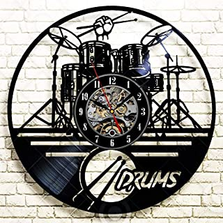 Wood Crafty Shop Drums Musical Instrument Art Clock Vinyl Record Wall Clock Gift for Him and Her Unique Wall Decor The Best Gift Idea for Any Event Birthday Gift, Wedding Gift