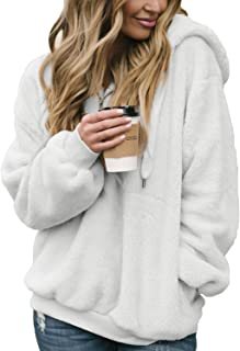 Womens Fuzzy Casual Loose Sweatshirt Hooded with Pockets Outwear S-XXL