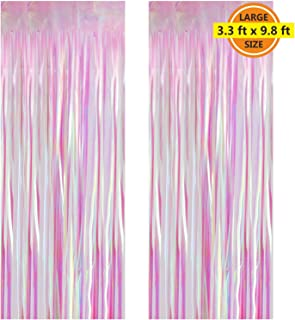2 Pack 3.3 ft x 9.8 ft Foil Curtains Metallic Fringe Curtains Shimmer Curtain Photo Backdrop for Halloween Christmas Birthday Party Wedding Deco (Multicolor)