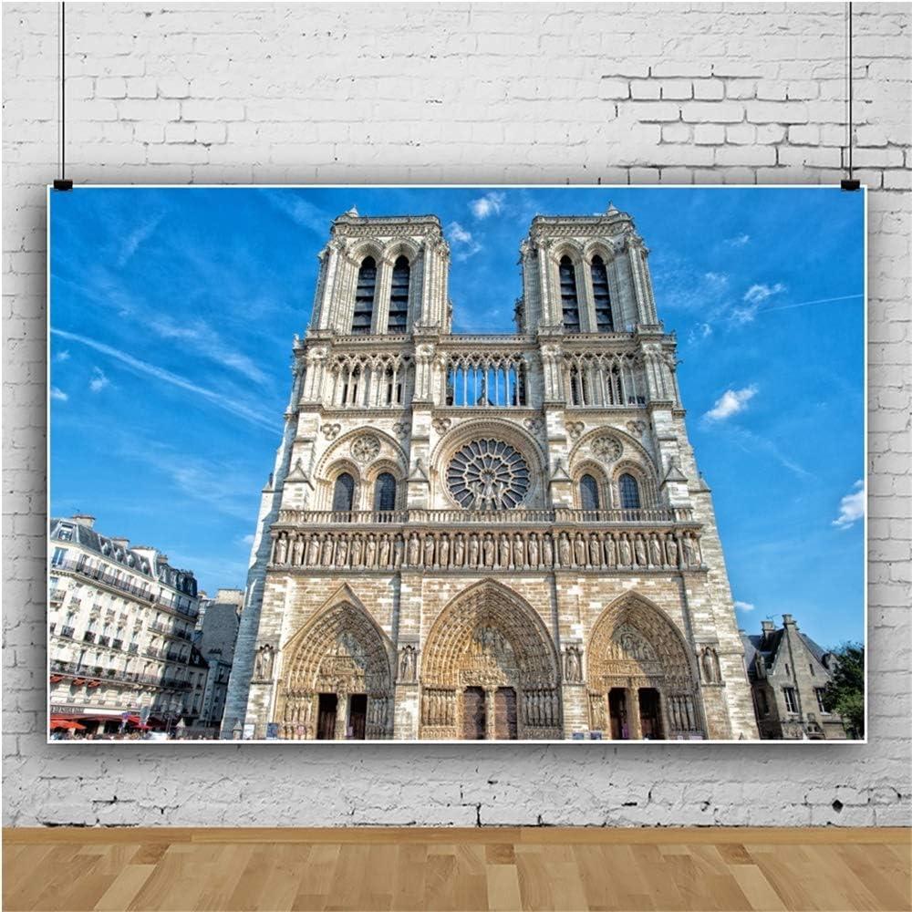 OERJU 12x10ft Notre Dame Paris Scene Backdrop Blue Skies World Famous Landmark Photography Background Kids Adults Portrait Photo Props Traveller Party Decor YouTube Video Making Vinyl Wallpaper