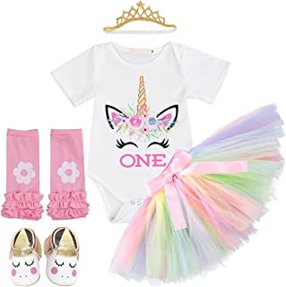 IWEMEK Baby Girls 1st Birthday Cake Smash Crown Bodysuit Romper Tutu Skirt Headband Winter Clothes