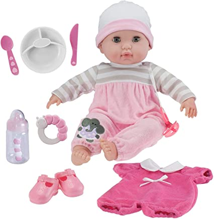"""Berenguer Boutique 15"""" Soft Body Baby Doll - Pink 10 Piece Gift Set with Open/Close Eyes- Perfect for Children 2+"""