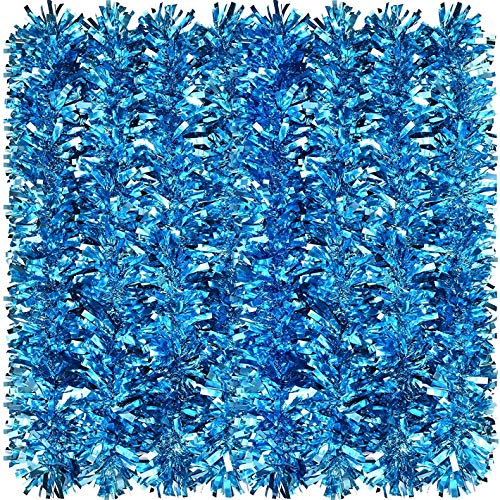 Christmas Tinsel Garland Metallic Tinsel wide- 9 cm,5.5 feet each string Twist Garland, Classic Shiny Sparkly Party Soft Tinsel Christmas Tree Ceiling Hanging Decorations, turquoise star pack of 5