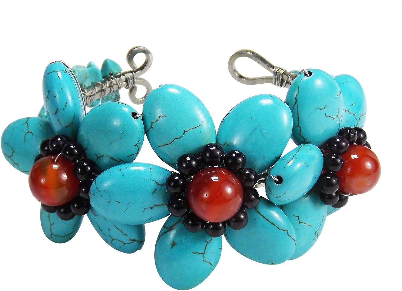 AeraVida Triple Lucky Floral Simulated Turquoise & Carnelian & Garnet Adjustable Cuff Bracelet