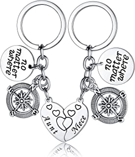 Aunt Keychain Gifts Niece Key Chain No Matter Where Compass Split Broken Heart for Women Aunt Birthday Gifts Christmas Gift