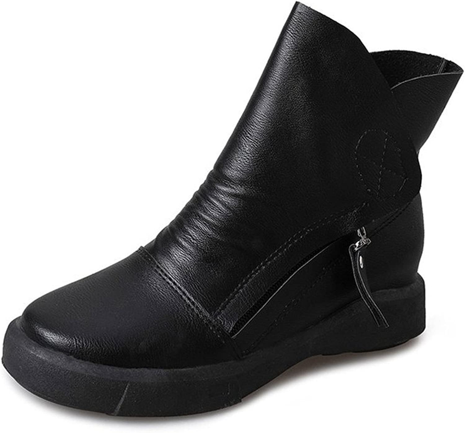 Dahanyi Stylish New Winter Boots Women shoes Woman Double Zipper Flat Platform shoes Female British Retro Short Ankle Boots