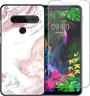 YZKJ fodral för LG G8S ThinQ skydd svart mjuk silikon skyddande skal flexibel TPU skal skal skal pansarglas skärmskydd sky...