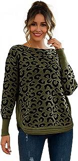 CUTEKOLVE Women's Crew Neck Leopard Print Curved Hem Knit Top Oversized Sweaters