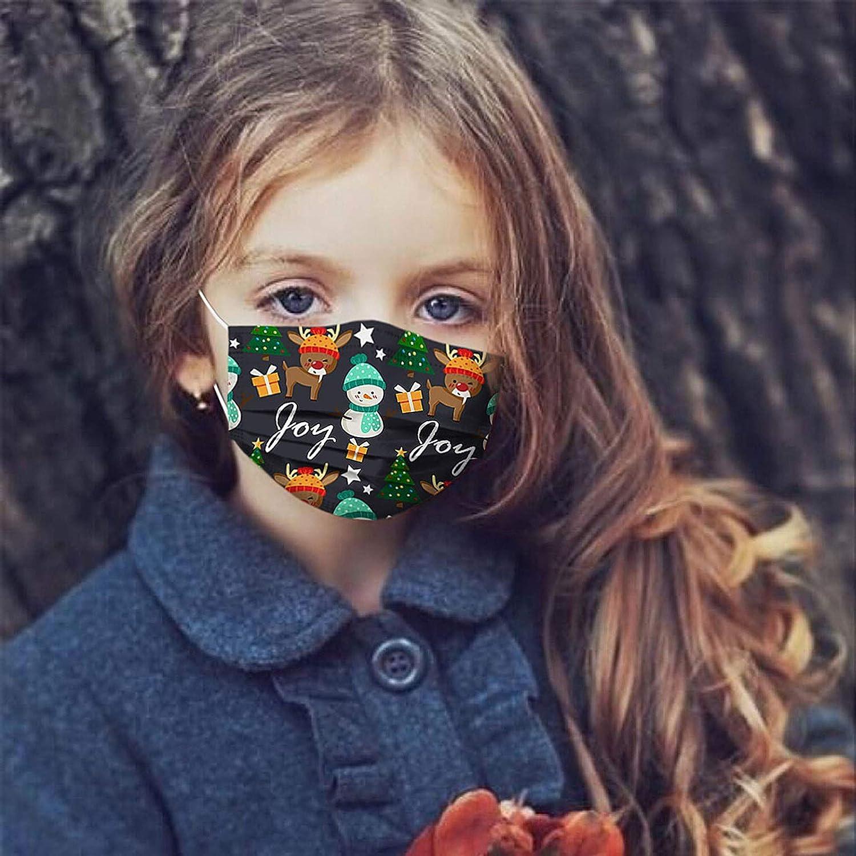 Zarupeng Kinder Mundschutz Weihnachten Disposable Breathable Stoff Mund/_und/_Nasenschutz Halstuch Weich Multifunktional Schlauchtuch Bunt Weihnachtsprint Mundstoff M/ädchen Jungen Hause Outdoor