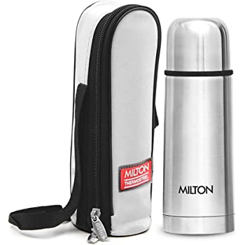Milton Plain Lid 350 Thermosteel 24 Hours Hot and Cold Water Bottle, 350 ml, Silver