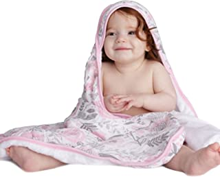 Luxury Kids Hooded Towel by Lulu Love Baby Blossom - Perfect for Infants and Babies - 100% Cotton Muslin with Extra Soft Rayon from Bamboo Liner - 33 x 33 inches - Bonus Washcloth - Shower Gift