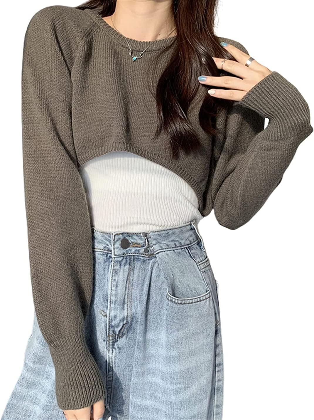 Lentta Women's Cropped Sweater Casual Crewneck Long Sleeves Knit Sweater Pullover Tops