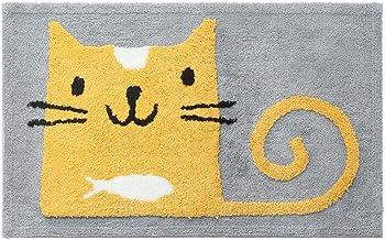 ESUPPORT Large Doormat Funny Pet Cat Door Rug Outdoor Indoor Entryway Kitchen Floor Non Slip Mats Yellow Color Lovely Kitt...