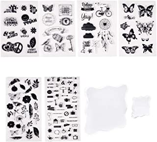 PH PandaHall 6 Sheets Clear Silicone Stamps Butterfly Flower Symbol Stamp Seal Set with 2pcs Square Acrylic Block Pad for Cards Making DIY Scrapbooking Photo