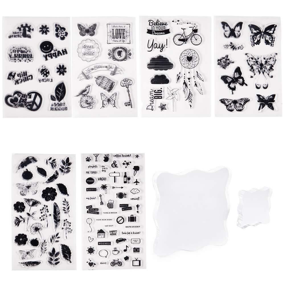 PandaHall Elite 6 Hojas de Sellos de Silicona Transparente con diseño de Mariposas y Flores, con 2 Unidades cuadradas de Bloque de acrílico para Tarjetas, Manualidades, álbumes de Recortes, Fotos: Amazon.es: Hogar