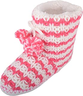 ABSOLUTE FOOTWEAR Womens Knitted Style Bootie Slippers/Indoor Shoes with Pom Pom Design