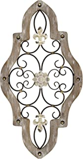 Stratton Home Decor S07678 French Country Scroll Wall Decor, 15.87 W x 0.59 D x 29.92 H, Natural