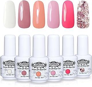 Perfect Summer Soak Off Nail Gel Polish - UV LED Gel Polish Varnish Gift Kits, Pack of 6 Coral White Pink Colors Trend Gift Set 8ML 005