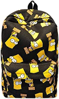 Cartoon Simpsons Print Women's Backpack Canvas Bag Travel Shoulder Bag