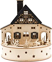 Clever Creations Traditional Wooden Table Top Christmas Decoration | Build Your Own Christmas Village | Unique House with Battery Operated Rotation and Christmas Lights | Spinning Sleigh and Reindeer