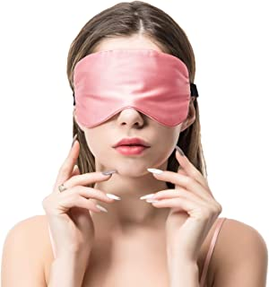 COLD POSH 16mm Silk Sleep Mask,Soft Eye Mask with Adjustable Strap,Eye Cover for Sleeping,Travel,Work,Meditation,Night Blindfold Eyeshade,Pink M