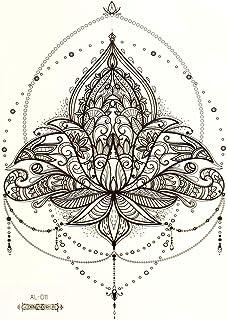 2 x Mandala XL Tattoo - zwarte lotus, mandala-tatoeage met kettingen en parels - Body Tijdelijke Tattoo - AL011 (2)