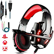 Auriculares Gaming PS4,Cascos Gaming de Mac Estéreo con Micrófono Cascos Gaming 3.5mm Jack con Luz LED Bass Surround y Cancelación de Ruido Auriculares Compatible con PC/Xbox One/Nintendo Switch